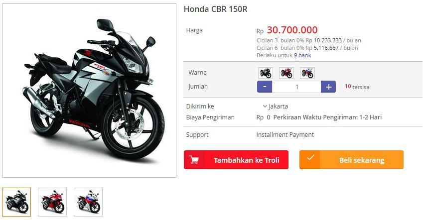 Harga Honda CBR 150R di Blanja.com