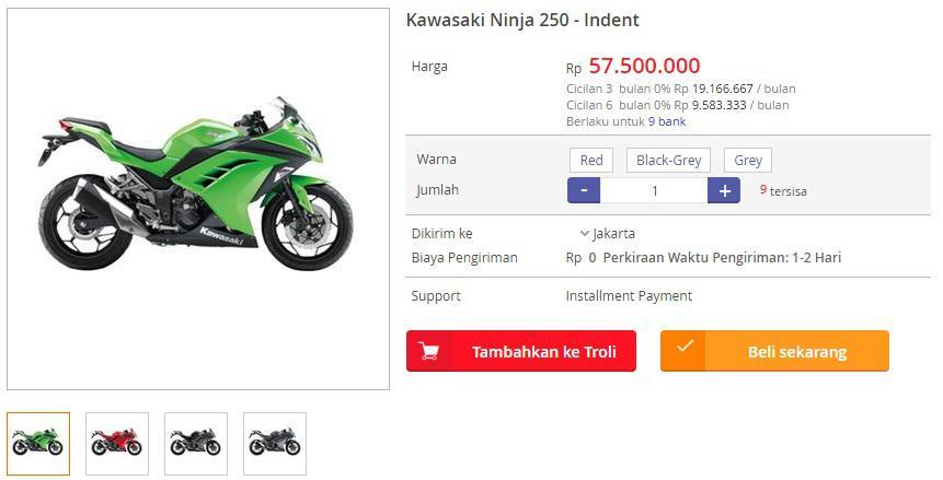 Harga Kawasaki Ninja 250 di Blanja.com
