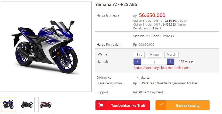 Harga Yamaha R25 ABS di Blanja.com