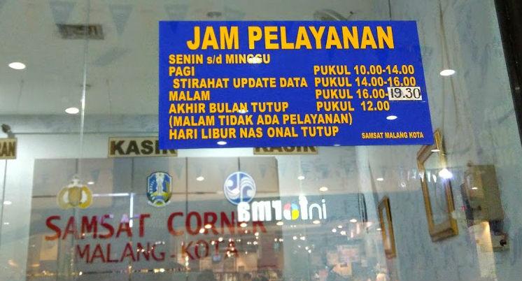 Jam Pelayanan Samsat Corner MOG