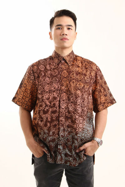 kemeja batik pria sanubari cap coklat